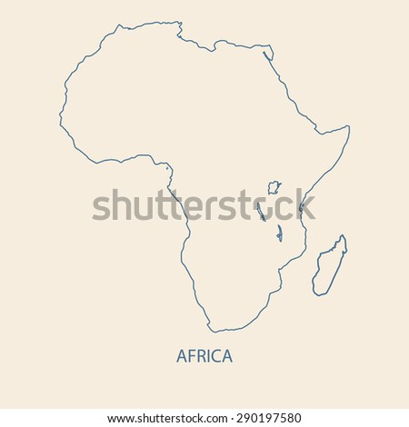 AFRICA MAP OUTLINE VECTOR - stock vector