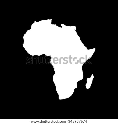 Africa map vector icon isolated on black - stock vector