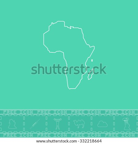 Africa Map. White outline flat symbol and bonus icon. Simple vector illustration pictogram on green background - stock vector