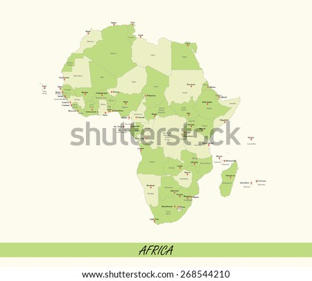 Africa map with African countries boundaries, names, and capitals - stock vector
