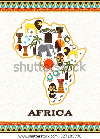 Africa map with african icons. Country and animal, djembe and national folklore, diamond and travel, vector illustration - stock vector