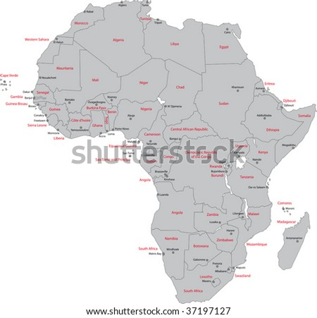 Africa map countries capital cities stock vector 37197127 shutterstock africa map with countries and capital cities gumiabroncs Choice Image