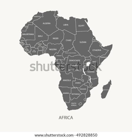 Africa map name countries grey color stock vector 492828850 africa map with name of the countries grey color illustration vector gumiabroncs Gallery