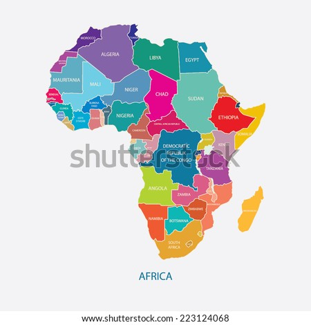 AFRICA MAP WITH NAME OF THE COUNTRIES illustration vector