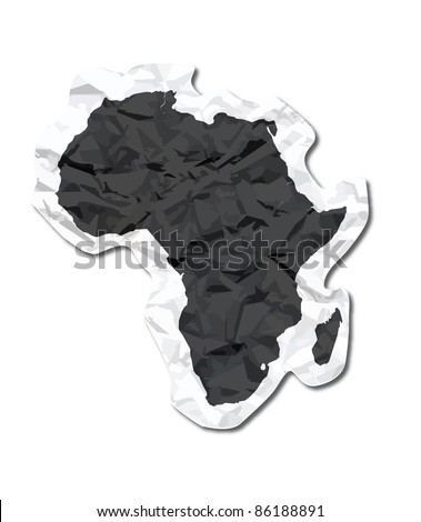 Africa paper tag - stock vector