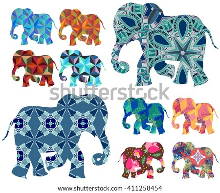 Africa. Patchwork. Beautiful elephants on white background. Vector set. Decorative silhouettes.  - stock vector