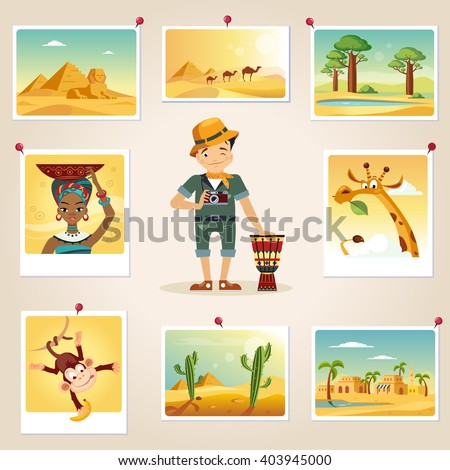 Africa Photographer Surrounded By Photos Cute flat Cartoon Style Vector Design Illustration - stock vector