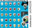 Africa Pointer Flag Icons with african Map set1 - stock photo