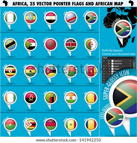 Africa Pointer Flag Icons with african Map set1 - stock vector