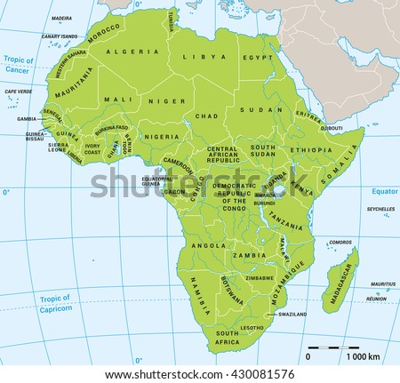 Africa Political Map Actual State Borders Stock Vector 430081576