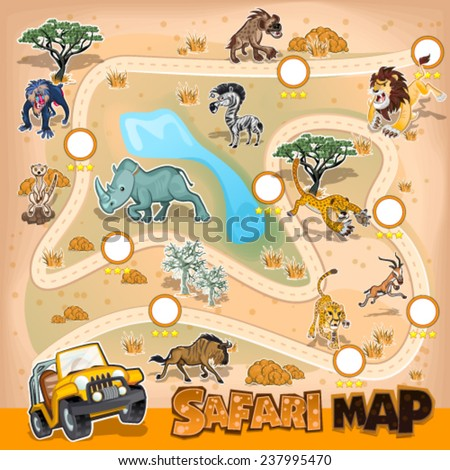 Africa Safari Map Wildlife - stock vector