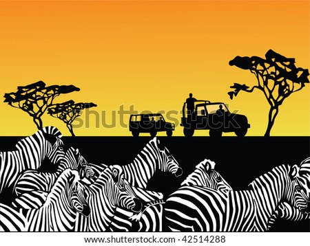 africa safari vector - stock vector