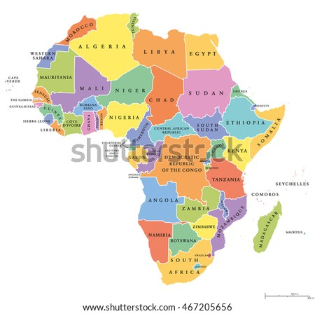 Africa single states political map each stock vector hd royalty africa single states political map each country with its own color area with national gumiabroncs Gallery