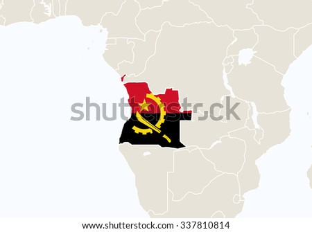 Africa with highlighted Angola map. Vector Illustration.  - stock vector