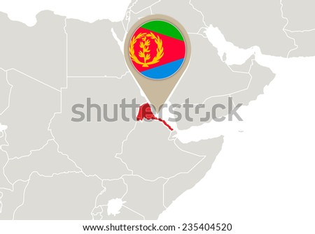 Africa with highlighted Eritrea map and flag