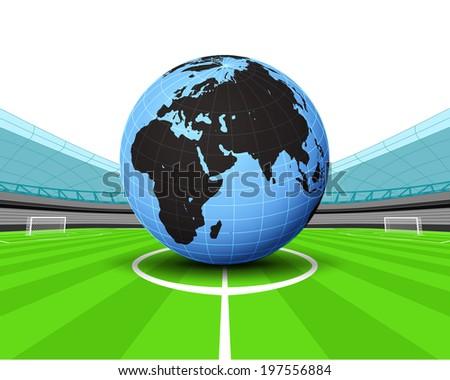 Africa world globe in the midfield of football stadium vector illustration - stock vector