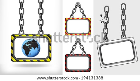 Africa world globe on chain hanged board collection vector illustration - stock vector