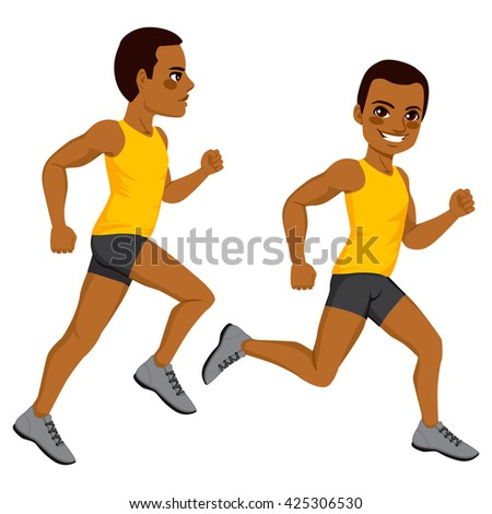 African American athletic man runner on two different running action isolated on white background - stock vector