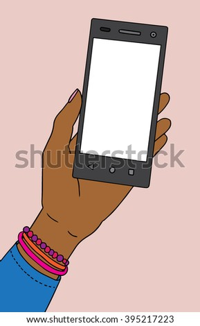 African american black skin female hand with smartphone. Vector illustration.