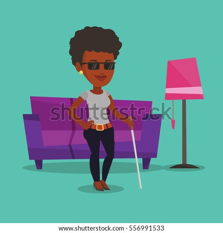 africanamerican blind woman standing walking stick stock vector