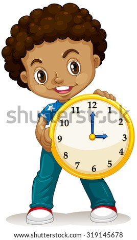 African American boy holding a clock illustration - stock vector