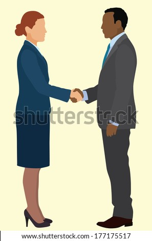 African American business man and Caucasian business woman shaking hands in business suits
