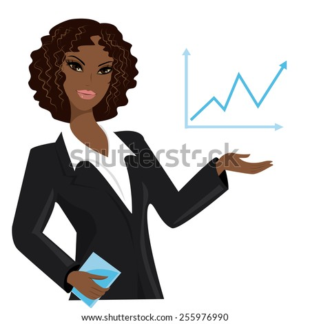 african american business woman pointing to  business trends,cartoon vector illustration - stock vector