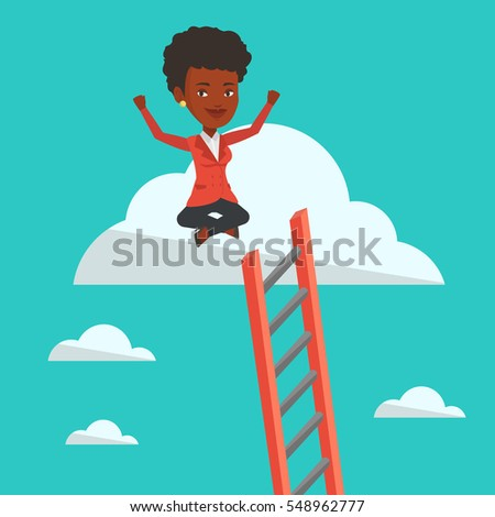 African-american business woman sitting on a cloud with ledder. Successful business woman relaxing on a cloud. Businesswoman with rised hands on cloud. Vector flat design illustration. Square layout.