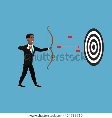 African American Businessman fired from a bow. Businessman in brown suit, white shirt, gray tie. Three red arrows fly to a black-and-white target. Business concept. Business metaphor. Vector