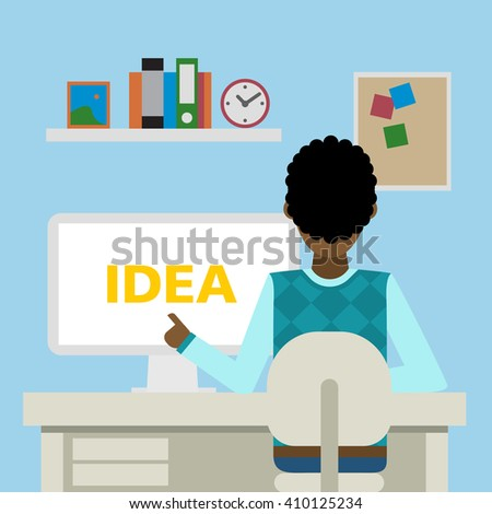 African american businessman sitting in the office with idea.Achievement and innovation. Businessman with idea. Successful character. - stock vector