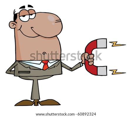 African American Businessman Using A Magnet - stock vector