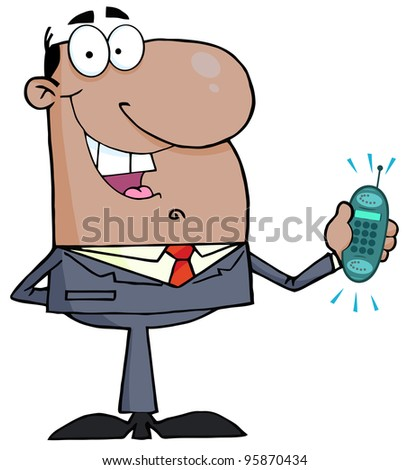African American Businessman With Phone Ringing.Vector Illustration - stock vector