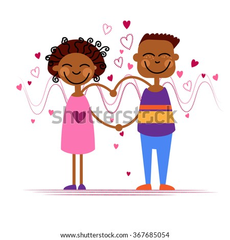 African American Couple Hold Heart Shape Love Vector Illustration