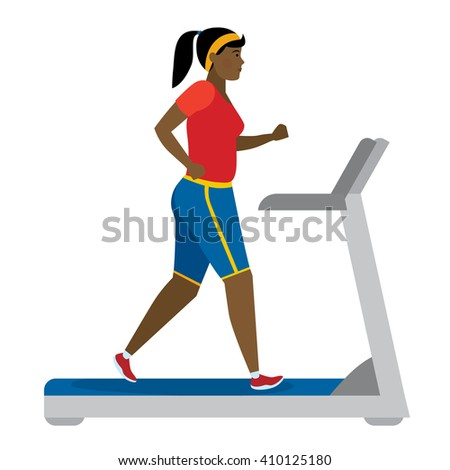 African american girl running on treadmill on white. Keep fit and healthy. Motivational. Training activity. African american character. Workout motivation and inspiration.  - stock vector
