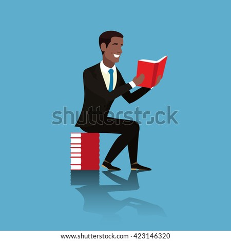 African American in a suit and blue tie is with a book in his hands - stock vector