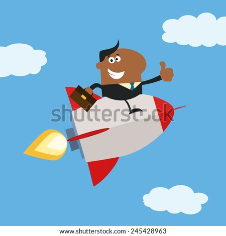African American Manager Flying In The Sky And Giving Thumb Up.Flat Style Vector Illustration