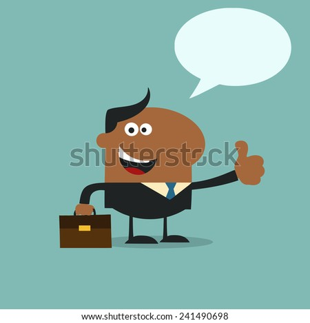African American Manager Giving Feedback In Modern Flat Design Vector Illustration With Speech Bubble - stock vector