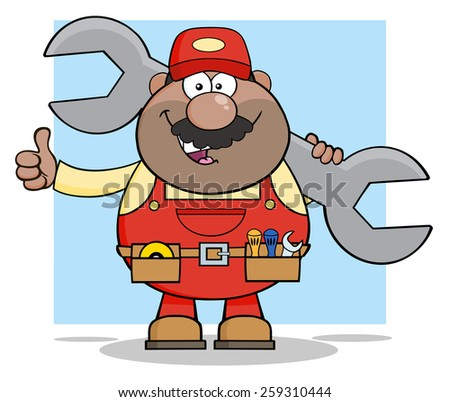 African American Mechanic Cartoon Character Holding Huge Wrench And Giving A Thumb Up. Vector Illustration With Background - stock vector
