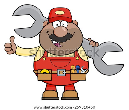 African American Mechanic Cartoon Character Holding Huge Wrench And Giving A Thumb Up. Vector Illustration Isolated On White - stock vector