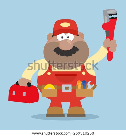 African American Mechanic Cartoon Character With Wrench And Tool Box Flat Style. Vector Illustration With Background - stock vector