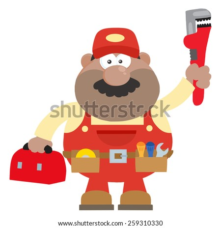 African American Mechanic Cartoon Character With Wrench And Tool Box Flat Style. Vector Illustration Isolated On White - stock vector