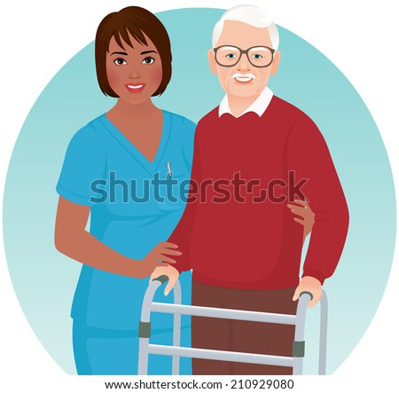 African American nurse helps elderly patient with a walker/Nurse helps elderly patient/African American nurse helps elderly patient hospital - stock vector