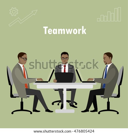 African american Office workers or business people sitting at the table. Working On laptop .Teamwork. Cartoon vector illustration
