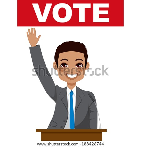 African American politician man giving a speech asking for vote and waving hand - stock vector