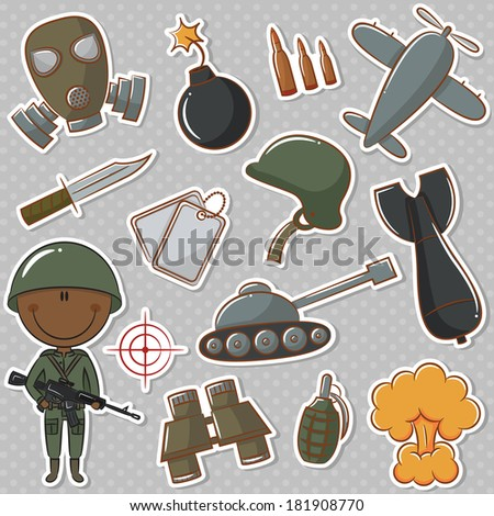 African-American soldier with military things - stock vector