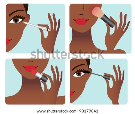 African american woman doing makeup - stock vector