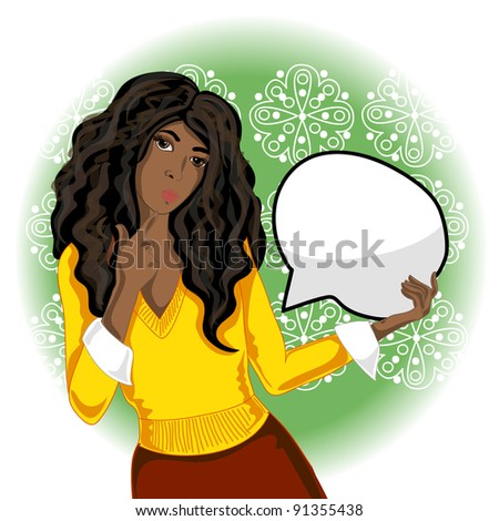 african american woman with speech bubble