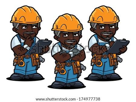 african american worker set - stock vector