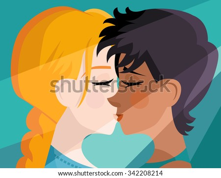 african and caucasian girls kissing - stock vector