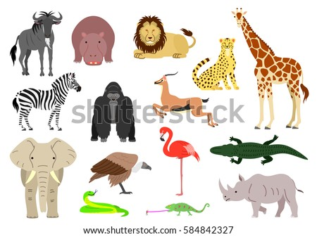 stock vector african animal element set on white background 584842327